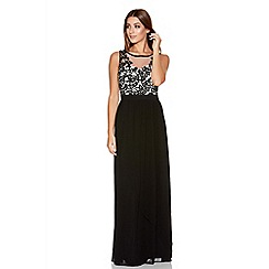 Quiz - Black Chiffon Crochet Flower Maxi Dress