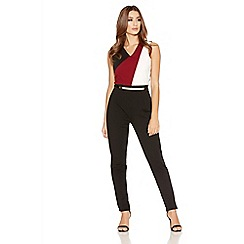 Quiz - Berry And Black Belt Jumpsuit