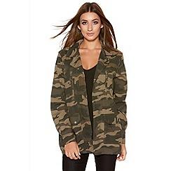 Quiz - Khaki Camouflage Pocket Light Jacket