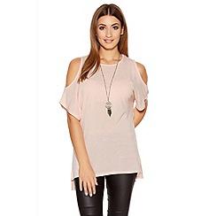 Quiz - Pink Light Knit Cold Shoulder Necklace Top