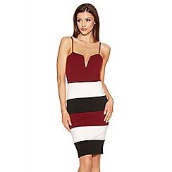 Quiz - Berry Black And Cream Panel Strap Bodycon Dress