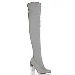 Quiz - Grey Faux Suede Over The Knee Heel Boots