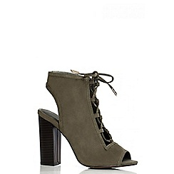 Quiz - Khaki Cutout Block Heel Shoe