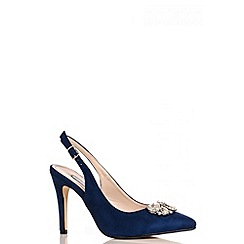 Quiz - Navy Faux Suede Sling Back Court Shoes
