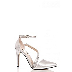 Quiz - Silver Shimmer Diamante Strap Court Shoes