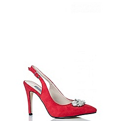 Quiz - Red Faux Suede Sling Back Court Shoes