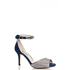 Quiz - Navy And Silver Ankle Chain Strap Diamante Shoes