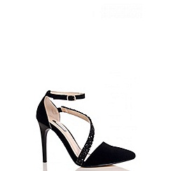 Quiz - Black Diamante Strap Court Shoes