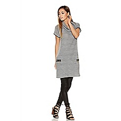 Quiz - Grey Knit Roll Neck Tunic Dress