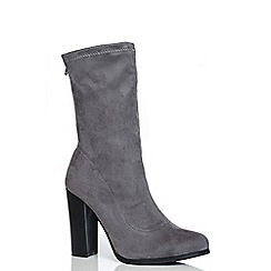 Quiz - Grey Faux Suede Stretch Block Heel Ankle Boots