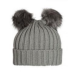 Quiz - Grey Double Pom Pom Hat