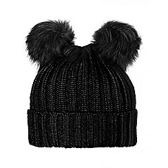 Quiz - Black Double Pom Pom Hat