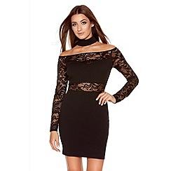 Quiz - Black Lace Bardot Choker Dress