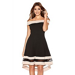 Quiz - Black And Stone Bardot Dip Hem Mesh Dress