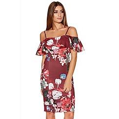 Quiz - Berry Floral Bardot Frill Bodycon Dress