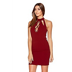 Quiz - Berry Crepe Lace Up Bodycon Dress
