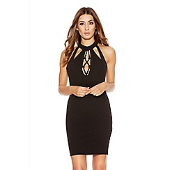 Quiz - Black Crepe Lace Up Bodycon Dress