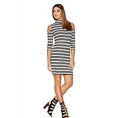 Quiz - Grey Black And Cream Stripe Turtle Cold Shoulder Dress