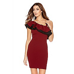 Quiz - Berry And Black Shoulder Frill Bodycon Dress