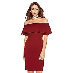 Quiz - Berry Crepe Big Frill Bardot Dress