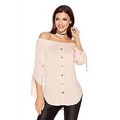 Quiz - Pink Crepe Bardot Button Front Top