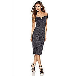 Quiz - Grey Glitter Lace Bardot Midi Dress