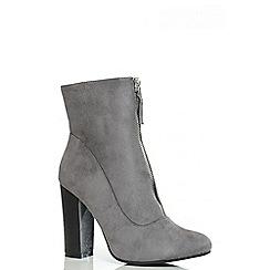 Quiz - Grey Zip Front Ankle Boots