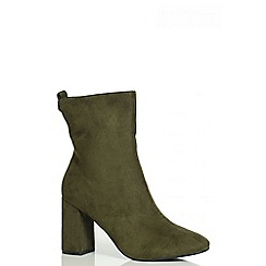 Quiz - Khaki Block Heel Ankle Boots