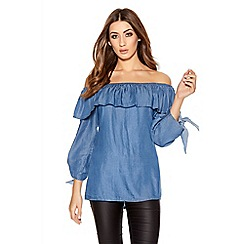 Quiz - Blue Denim Tie 3/4 Sleeve Bardot Frill Top