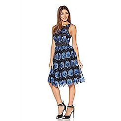 Quiz - Blue And Black Mesh Floral Skater Dress