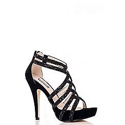 Quiz - Black Facet Cross Strap Sandals