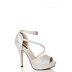 Quiz - Silver Glitter Mesh Platform Sandals