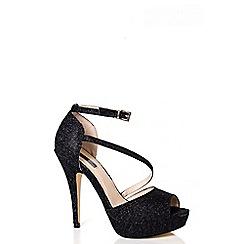 Quiz - Black Glitter Mesh Platform Sandals