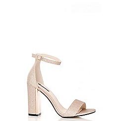 Quiz - Champagne Fine Glitter Block Heel Sandals