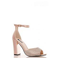 Quiz - Rose Gold Diamante Block Heel Sandals