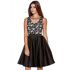 Quiz - Black And Cream Satin Flower Short Dress