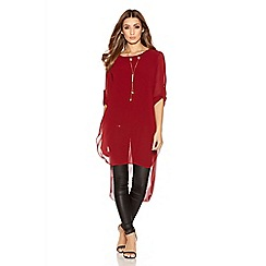Quiz - Berry Chiffon 3/4 Sleeve Tail Necklace Top