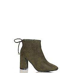 Quiz - Khaki Faux Suede Block Heel Ankle Boots