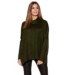 Quiz - Khaki Roll Neck Knitted Oversized Jumper