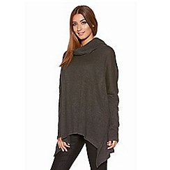 Quiz - Charcoal Roll Neck Knitted Oversized Jumper