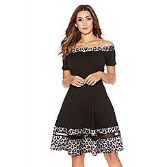 Quiz - Black And Stone Leopard Print Bardot Dress