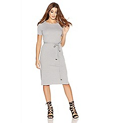 Quiz - Grey Ribbed Knit Tie Belt Midi Dress
