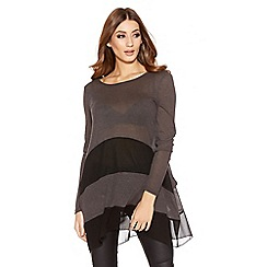 Quiz - Grey And Black Light Knit Dip Side Top