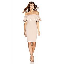 Quiz - Stone Crepe Big Frill Bardot Dress