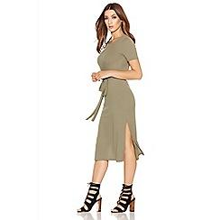 Quiz - Khaki Ribbed Knit Tie Belt Dress