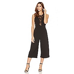 Quiz - Black Lace Sleeveless Culotte Jumpsuit