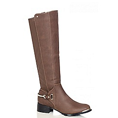 Quiz - Brown PU Stretch Heel Trim Calf Boots