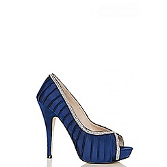 Quiz - Navy Pleated Satin Diamante Courts
