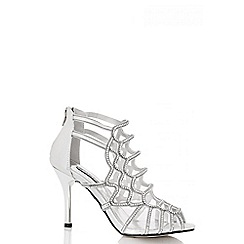 Quiz - Silver Diamante Cage Strap Sandals