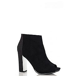 Quiz - Black Faux Suede Shimmer Block Shoe Boots